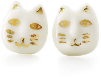 Poporcelain Porcelain Lucky Cat Stud Earrings