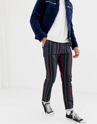 Asos DESIGN slim pants with elasticated waist in collegiate stripe