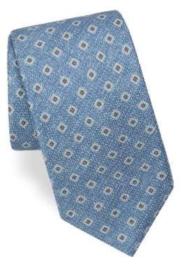 Corneliani Square-Print Silk Tie