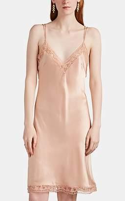 Alberta Ferretti Women's Lace-Trimmed Silk Satin Slipdress - Blush
