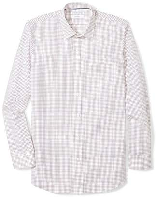 Amazon Essentials Men's Slim-Fit Wrinkle-Resistant Long Plaid Dress Shirt