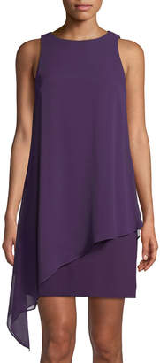 Tahari ASL Sleeveless Draped Chiffon Dress
