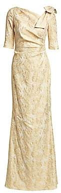 Teri Jon by Rickie Freeman Women's Bow Shoulder Metallic Jacquard Gown