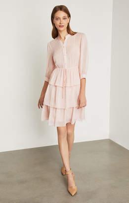 BCBGMAXAZRIA Clip Dot Tiered Ruffle Dress