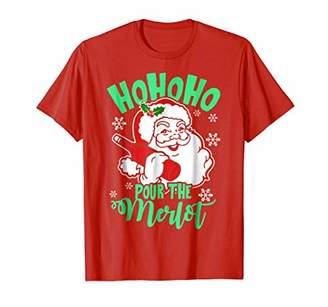 Ho Ho Ho Pour the Merlot Christmas Wine T-Shirt