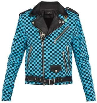 Amiri Artist Checkered Denim And Leather Biker Jacket - Mens - Multi