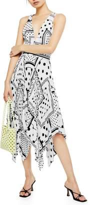 Topshop Spot Print Pleated Pinafore Dress