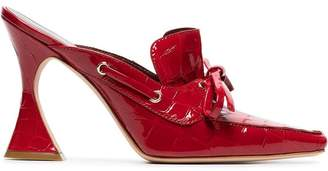 Sies Marjan Red Patent Remi 100 croc boat mules