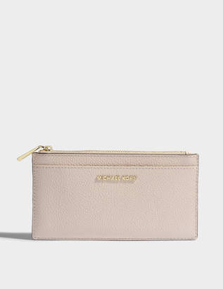 MICHAEL Michael Kors Large Slim Card Case in Soft Pink Mercer Pebble Leather