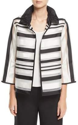Caroline Rose Ruched Satin-Striped Organza Jacket, Plus Size