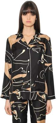 Valentino Panther Printed Silk Twill Shirt