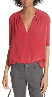 Joie Ance Pleated Back Short Sleeve Blouse