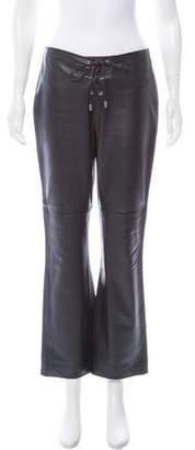 Ralph Lauren Mid-Rise Leather Pants