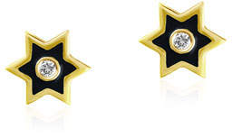 Amrapali Legend 18k Gold Mini Icon Star Stud Earrings w/ Black Enamel & Diamonds