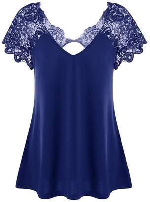 XWDA Plus Size Tops Women Sexy V Neck Lace T-Shirt Fashion Short Sleeve Blouse