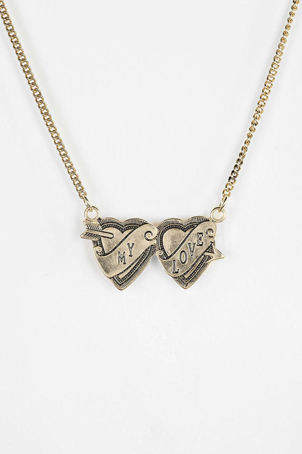 Urban Outfitters Two Hearts Engraved Necklace