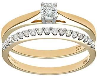 Naava Women's 9 ct Yellow Gold 0.33 ct Diamond Bridal Set Ring