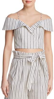 Alice + Olivia Haydee Cold-Shoulder Striped Cropped Top