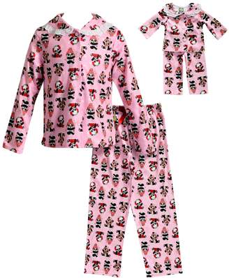 Dollie & Me Girls 4-14 Panda Bear Top & Bottoms Pajama Set
