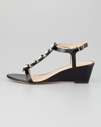 Kate Spade Darcey Bow-Studded Wedge Sandal, Black