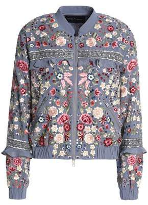 Needle & Thread Ruffle-Trimmed Embroidered Crepe Bomber Jacket