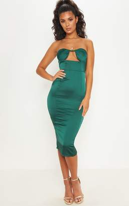 PrettyLittleThing Emerald Green Satin Cup Detail Midi Dress
