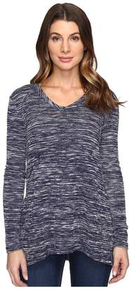 Mod-o-doc Space Dyed Slub Sweater Seamed V-Neck Pullover Women's Clothing