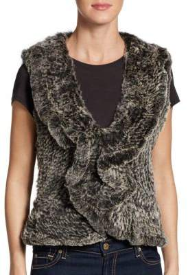 Saks Fifth Avenue Ruffle Rabbit Fur Vest