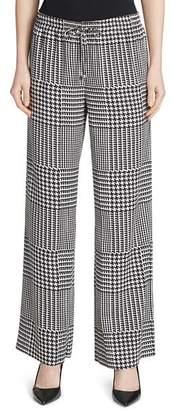 Calvin Klein Abstract Plaid Wide-Leg Pants