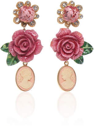 Dolce & Gabbana Rosetto Cameo Gold-Tone Brass and Crystal Earrings