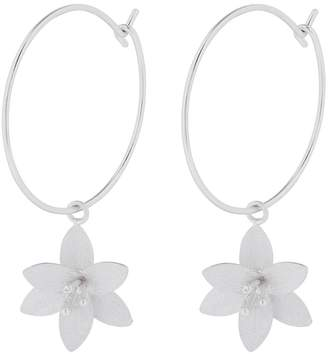 a6ba3aa41 Accessorize Brushed Lily Charm Hoop Earrings - Silver