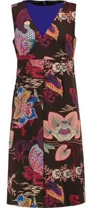 Etro Paneled Printed Wool-Crepe Dress