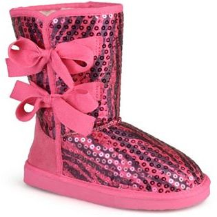 Journee Collection K-Bow Girls' Sequined Bow Boots $56.99 thestylecure.com