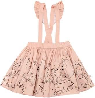 Molo Bears Cotton Poplin Skirt W/ Suspenders