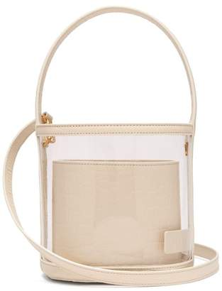 STAUD Bissett Leather & Pvc Bucket Bag - Womens - Cream