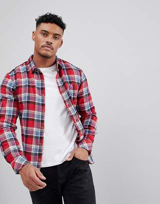 Pull&Bear Slim Fit Check Shirt In Red