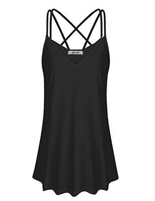 ZKHOECR Spaghetti Strap Tank Top Women Sleeveless V Neck Summer Long Camisole Wide Hem Simple Loose Fitting Light Weight Casual Cami Elegant Cotton Blouses for Work M