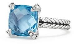 David Yurman Châtelaine® Ring with Blue Topaz and Diamonds
