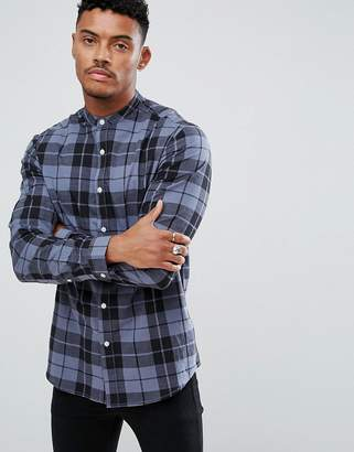 Asos DESIGN stretch slim poplin check shirt with grandad collar in blue