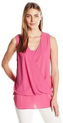 Karen Kane Women's Drape-Front Layered Top