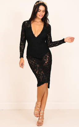 Showpo Guestlist Dress in Black Lace