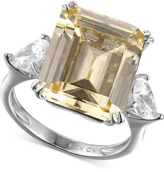 Macy's Cubic Zirconia and Canary Yellow Statement Ring in Sterling Silver