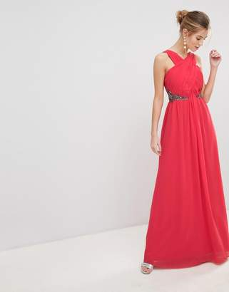 Little Mistress Chiffon Maxi Dress And Embellished Jewel Waist