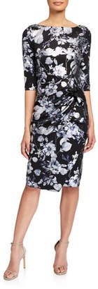 Jovani Stone Embellished Floral 3/4-Sleeve Dress w/ Drape Detail