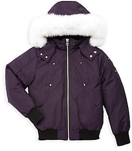Moose Knuckles Little Girl's & Girl's Fox Fur-Trim Down Bomber