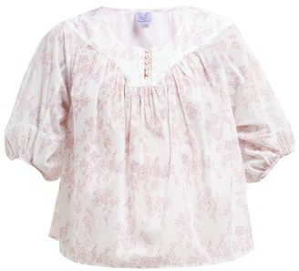 Thierry Colson Theda Floral Print Cotton Blouse - Womens - Pink Multi