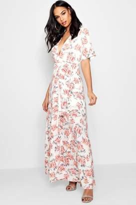 boohoo Boutique Floral Kimono Sleeve Maxi Dress