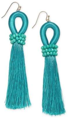 INC International Concepts I.N.C. Gold-Tone Colored Bead & Thread Tassel Drop Earrings, Created for Macy's