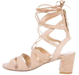 Stuart Weitzman Tie Girl Suede Multi-Strap Lace-Up Sandals