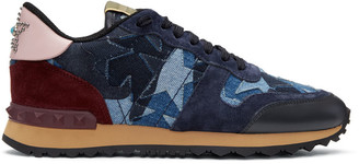 Valentino Blue Denim Patchwork Rockrunner Sneakers $845 thestylecure.com
